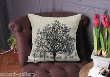 Decorative Throw Pillowcase Tree Cushion Cover Linen Pillow Cover Double Sides