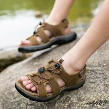 Mens summer sport hiking flexible leisure soft outing ring real Leather sandals