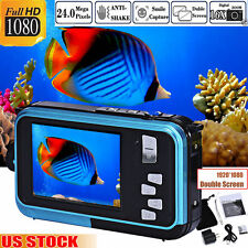 HD 1080P Double Screen Waterproof Camera 24MP 16x Digital Zoom Dive Camera Video