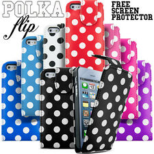 Polka Dot Spotted Leather Flip Wallet Case Cover Apple iPhone SE 5 5s