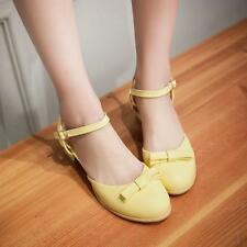 Womens Sling-back Ankle strap Sandals Bowknot Mary janes Low heel Causal Shoes