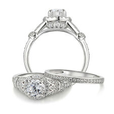 1.73 Ct Halo Round Cut CZ 925 Sterling Silver Wedding Ring Set Women's Size 5-10