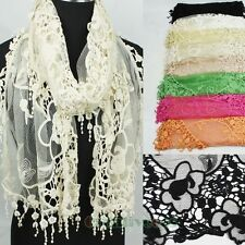 Women Fashion Floral Embroidery Lace Funky Tassel Soft Long Scarf Wrap Shawl New
