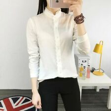 New Womens Ladies Chic Stand Lace Collar Button Down Shirt Blouse Tops Shirt SML