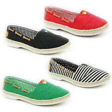 NEW WOMENS LADIES FLAT SLIP ON WEAVE MOCCASINS PUMPS ESPADRILLE SIZE 3-8