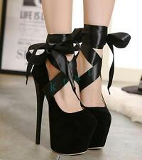 Hot Womens Strappy Super High Heels Platform Faux Suede Evening Club Shoes Pumps
