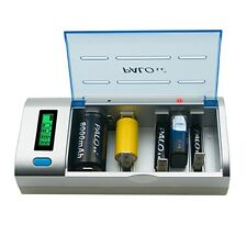 4 Slots Universal Smart LCD Charger for AA AAA C D 9V Rechargeable Batteries IB