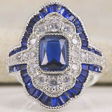 Women Jewelry 925 Silver White & Sapphire Cocktail Wedding Bridal Ring Size 6-10