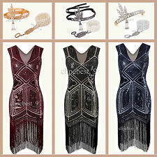 1920s Flapper Dress Gatsby Vintage Sequin Beads V Collar Cocktail Party Dresses