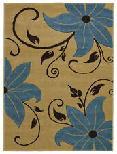 Beige Blue Floral Style Hand Carved Rug 100% Polypropylene Modern Home Decor Mat