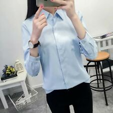 New Womens Solid Blue/Pink/White Long Sleeve Button Down Shirt Blouse Tops SML