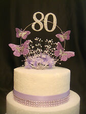 lilac glitter butterfly pearl spray babies breath any age  birthday cake topper