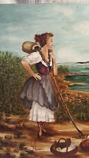 "Original Art ""Working Peasant Girl looking out to sea"" Classical style"