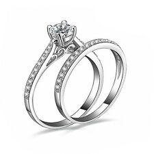 Women Engagement Wedding 2Pcs Ring Set Cubic Zirconia Silver Plated Rings New