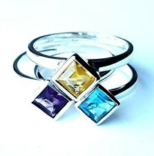 SIZES 5,6,7,8,9: 3 STACK RINGS CZ Cubes Purple Yellow Blue .925 Sterling Silver