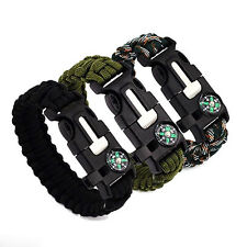 5 in 1 Compass Flint Escape Survival Whistle Bracelet Hand Rope Outdoor Spirited