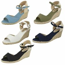 Ladies Spot On Mid Wedge Espadrilles F2260 - D