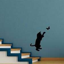 Cute Kitten Playing With Butterfly silhouettes wall art decal stickers