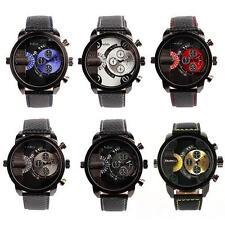 Men's Oulm Sport Dual Time Zone Analog Black Leather Band Quartz Wrist Watch New