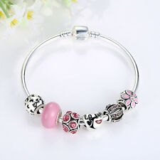 PINK European 925 Glass Bead Charms Bracelet Crystal Women DIY Fashion Jewelry