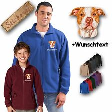 Cosy Fleece Jacket Embroidery Dog Pit Bull Terrier + Desired Text
