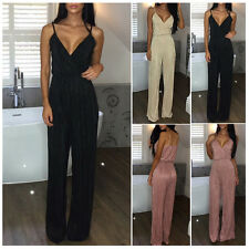 Sexy Womens V-Neck Slip Jumpsuit Ladies Evening Nightout Party Playsuit Rompers