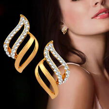 Fashion Cubic Zircon Hollow Silver/Gold Leaf Earrings Women Brand Stud Earring