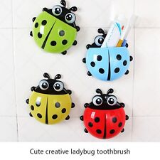 Cartoon Ladybug Suction Hook Tooth Brush Toothpaste Holder Rack Container WS