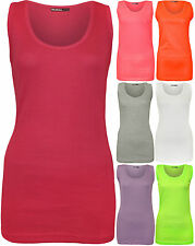 Plus Size New Womens Plain Ribbed Vest Top Ladies Sleeveless Summer Stretch Tops