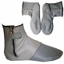 Gray Leather Socks Genuine Indoor House Shoes Slippers Footwear Quff Khuffain