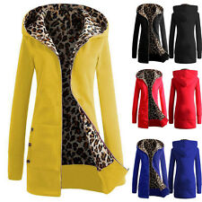 Women Thicken Warm Winter Coat Leopard Hooded Parka Overcoat Long Jacket Outwear