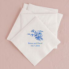 Personalized Printed Vintage Floral Wedding Reception Bridal Shower Napkins