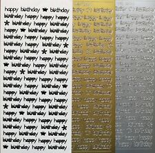 HAPPY BIRTHDAY Type 10 PEEL OFF STICKERS Script Cursive Cardmaking