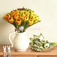 Real Touch Artificial 12-Head Silk Flowers Tulip Bouquet Home Decor 6 Colors