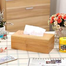 Rectangular Bamboo Tissue Paper Storage Box Home Napkin Case Cover Holder 2 Size