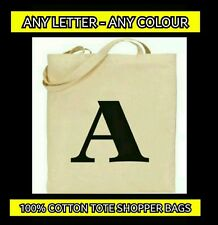 INITIAL COTTON TOTE SHOPPER BAGS - PERSONALISED LETTER BAGS - ALPHABET TOTE BAG