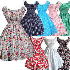 Ture Vintage 50s 60s Print Floral Polka dot Swing Retro Rockabilly Dress 8Cols