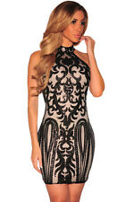 Sexy Women Nightclub Vintage Sequined Print Bodycon Mini Party Dress Sleeveless