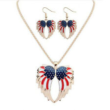 Hot Resin Jewelry Sets Earrings Stars and Stripes Wings Bohemia Necklace Drip