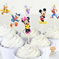 Mickey Mouse Minnie Mouse Donald Daisy Duck Pluto Birthday Cake Cupcake Toppers