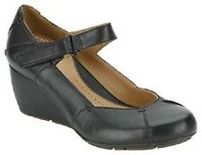 Clarks Ladies Wedge Active Air Rip-Tape Shoes Faun Layer Black Leather UK 7