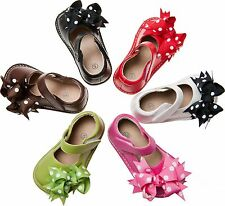 Toddler Girl's Mary Jane Squeaky Shoe white green pink red black brown WITH BOWS
