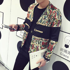 Chinoiserie Style Men's Coat Printing Slim Outwear Plate buckle Short Jacket