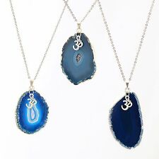 """OM Yoga Charm Agate Slice Pendant Necklace Blue Stainless Steel Chain 26"""""""