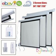 """Projector Screen 84/100/120"""" Electric Motorised Remote Control Projection UK"""