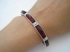 """New Solid Real 925 Sterling Silver 5MMx18MM Red Ruby Bracelet 7.25"""" Long"""