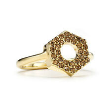 Marc by Marc Jacobs Yellow Crystal Pave Bolt Ring Gold Tone
