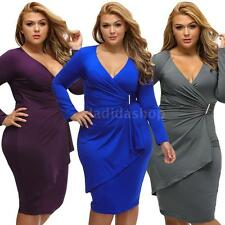 Plus Size New Women Ladies Ruched V Neck Bodycon Elegant Wrapsround Dress H5W6