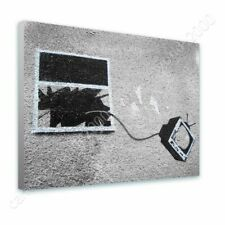 READY TO HANG CANVAS TV Through Window Banksy Frame Framed Art Framed Print