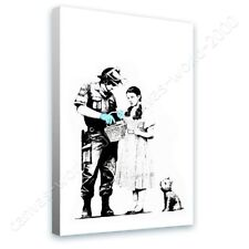 READY TO HANG CANVAS Banksy Soldier Searching Girl Banksy Giclee Framed Artwork
